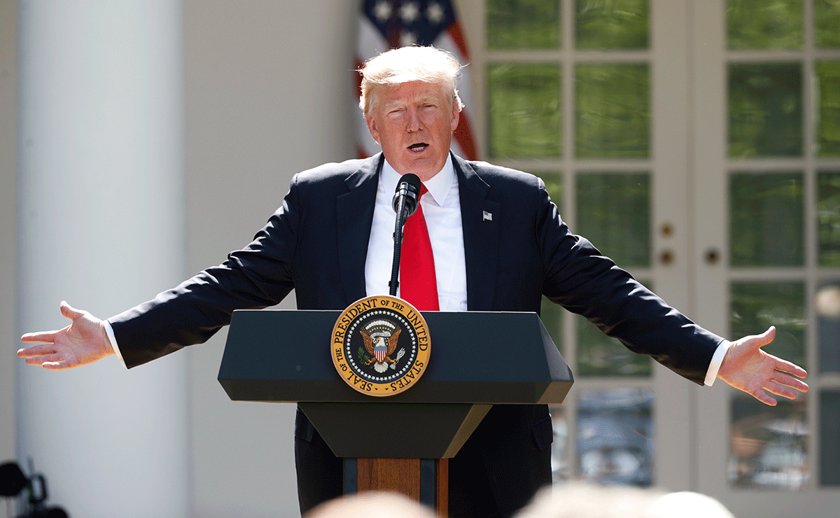 President Donald Trump holds a press conference in the Rose Garden of the White House on June 1, 2017 to announce his decision to withdraw the United States from the global Paris climate agreement.  | Kevin Lamarque\/REUTERS