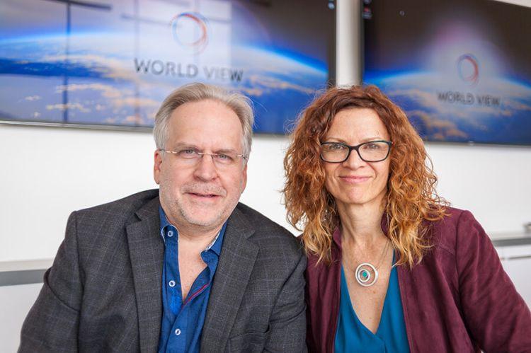 Taber MacCallum and Jane Poynter at World View's headquarters in Tucson, Arizona.