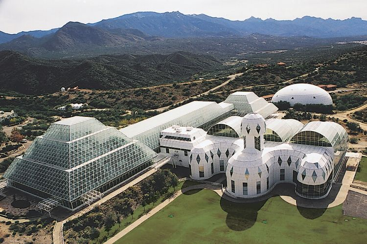 Biosphere 2 is situated in foothills of the Santa Catalina Mountains in Oracle, Arizona.
