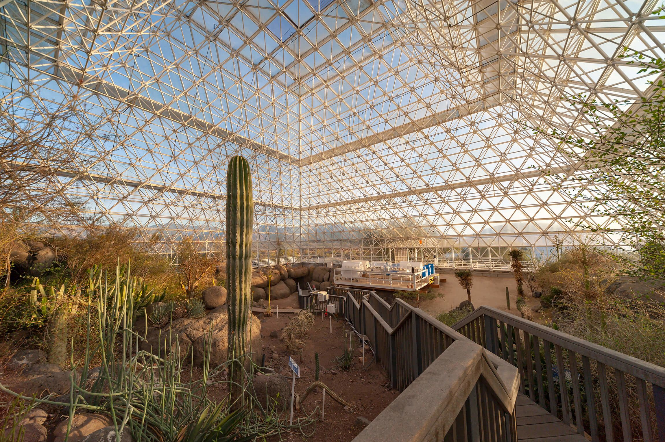 The desert biome of Biosphere 2 is warm and arid.