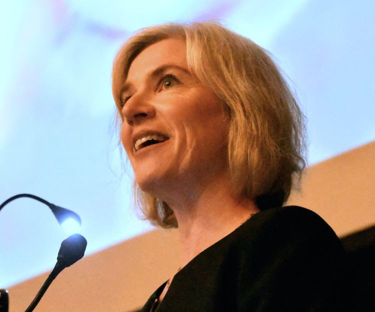 Jennifer Doudna, a co-inventor of CRISPR, welcomes scientists to Berkeley's Institute for Innovative Genomics in October during an open house.