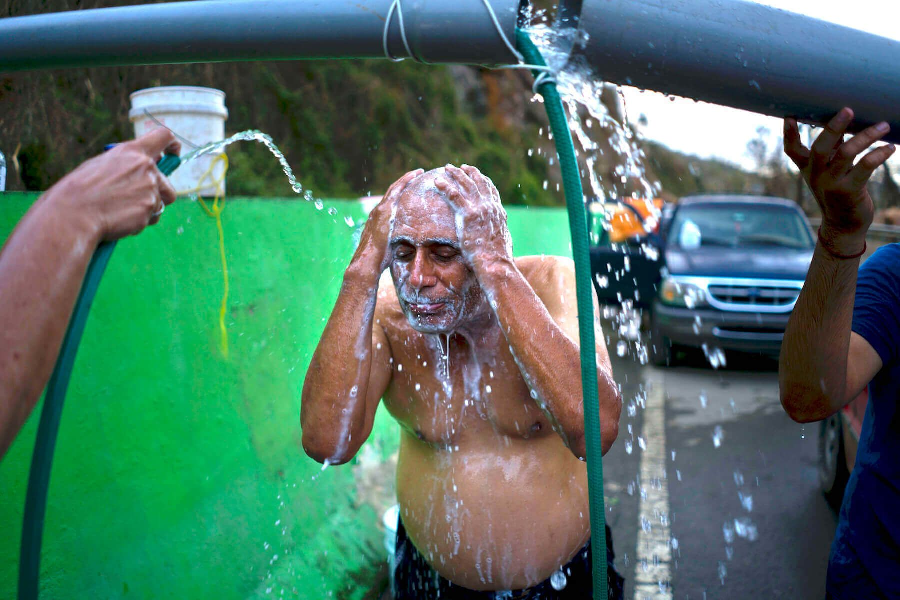 In October 2017, people in Naranjito had to bathe in water piped in by a neighbor from a local creek.