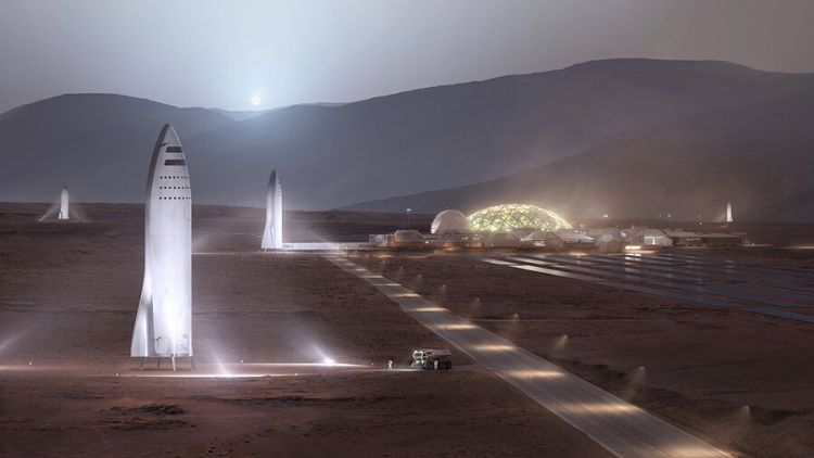 "An illustration of Spacex's ""Big Falcon Rocket"" helping colonize Mars."
